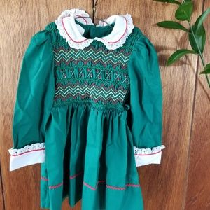 Vintage 70's Green Holiday Embroidered Dress